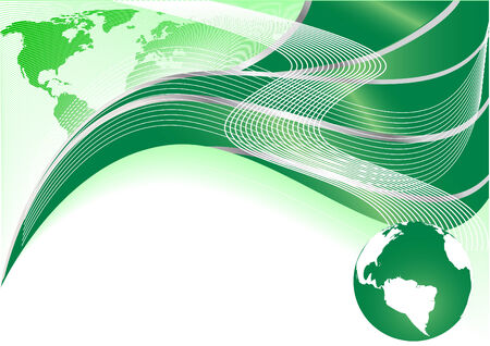 Vector green abstract background with map and globe; clip-art Vector