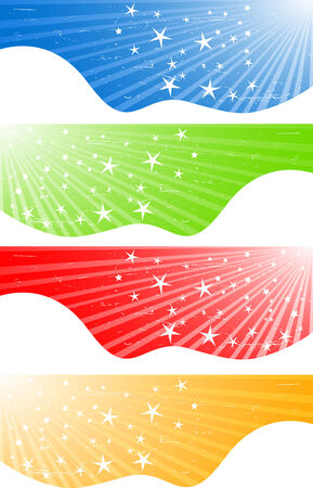 Vector abstract banners with stars; clip-art Vector