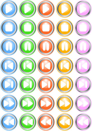 Vector bright button set; clip-art Vector