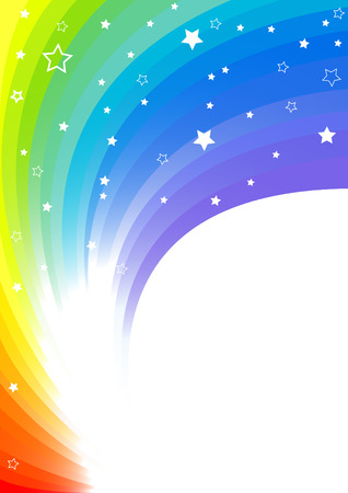 rainbow color star: bright background, clip-art Illustration