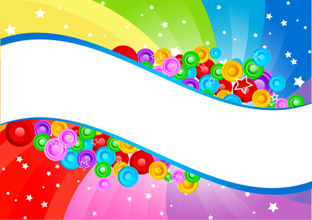 rainbow color star: Vector swirl abstract background with circle