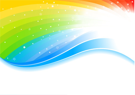 rainbow color star: Vector rainbow background; clip-art