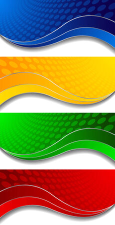 Vector collection of four bright banners; clip-art