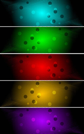 Vector bright banners with circle; clip-art