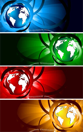 bright banners with globe, clip-art Vector