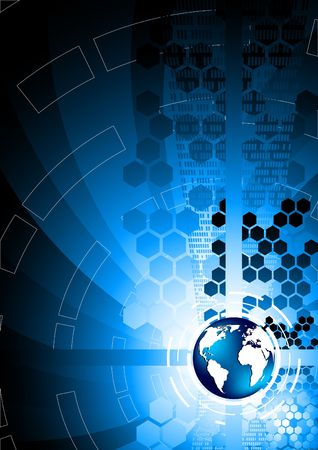 world  hexagon: Vector abstract blue background; clip-art Illustration