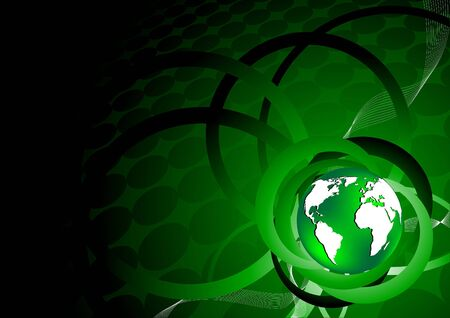 Vector green background with earth; clip-art Stock Vector - 6649225
