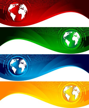 red swirl: Vector set of banners; clip-art