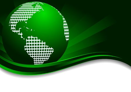 Vector green background with earth; clip-art Stock Vector - 6700670