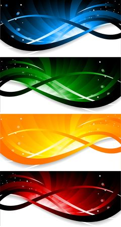 green and yellow: set of colorful banner, clip-art Stock Photo