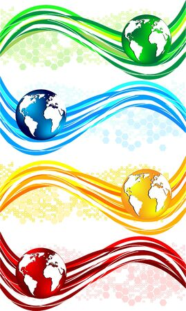 world  hexagon:  set colorful wavy banners with globe, clip-art