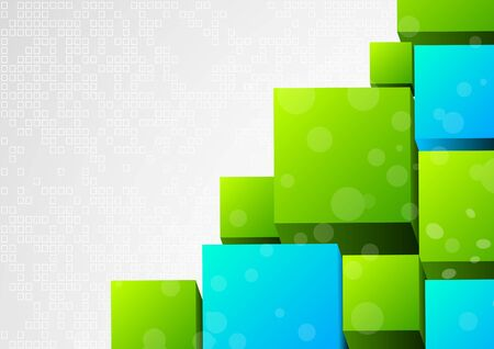 computer graphics: Abstract 3d background with block Stock Photo