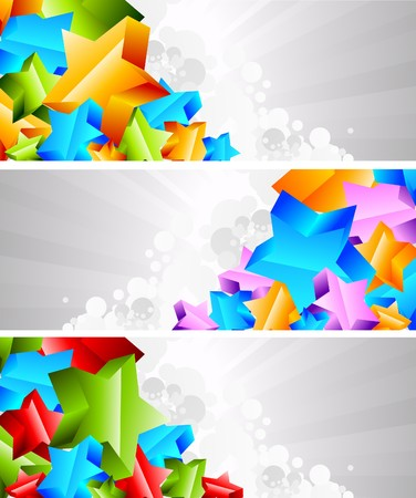 Set of banner with 3d star Stock Photo - 7852333