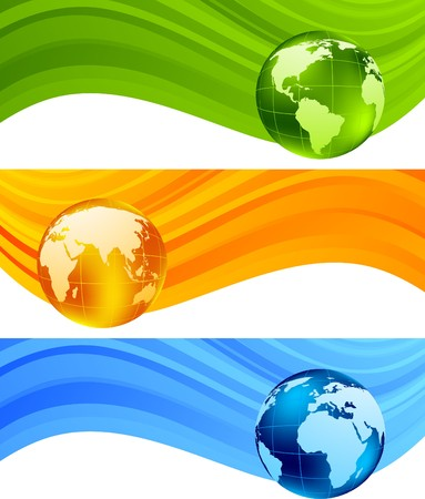 Set of banners with globe. Vector illustration Stock Illustration - 7852332