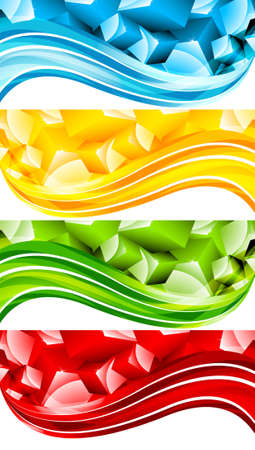 Set of abstract banner with cubes. illustration illustration