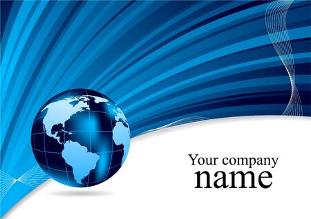 Background in blue color with globe. illustration Stock Illustration - 8838595
