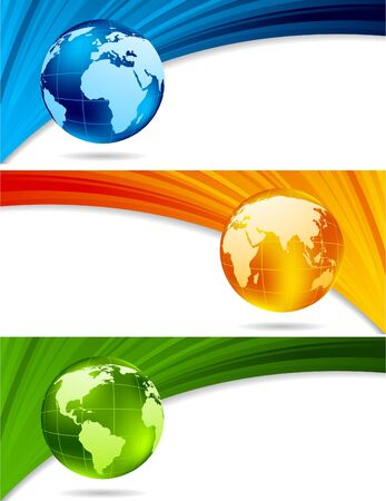 orange swirl: Set of technical banners with globe Stock Photo