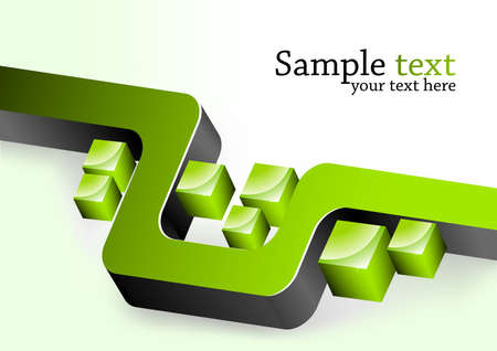 Abstract background. Illustration with green 3d element Stok Fotoğraf