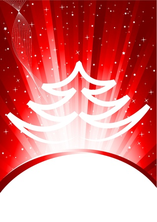 Abstract red xmas background with tree Stock Photo - 8838589