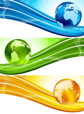Set of colorful banners with globe photo