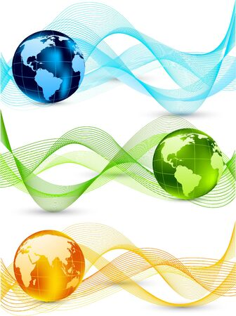 light  glossy: Set of banners with globes Illustration