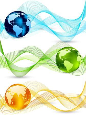 orange swirl: Set of banners with globes Illustration