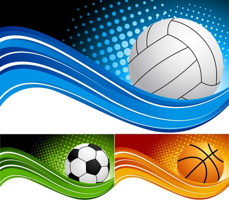 pelota de voley: Fondo de deporte de conjunto Vectores