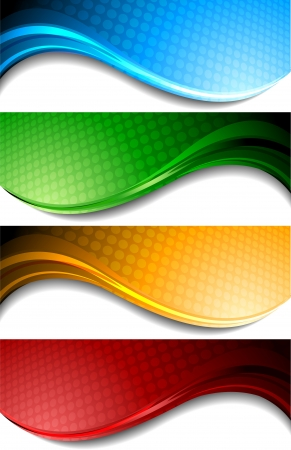Set of wavy banners with circles Vector