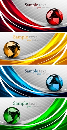 Set of abstract bright banners with globes Vector