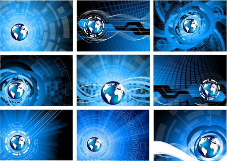 Set of backgrounds with globe Vector