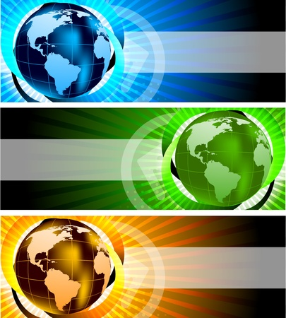 computer banner: Banners with globe Stock Photo