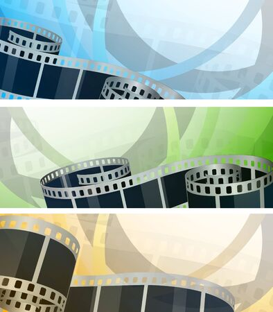 film tape: Set of banners with film reel