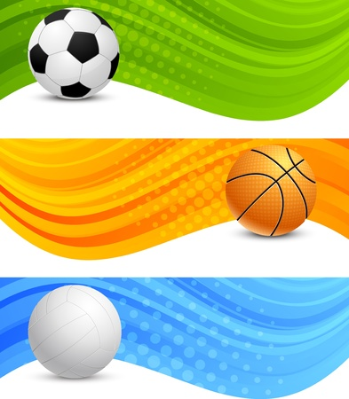 sports backgrounds: Set of banners with ball Stock Photo