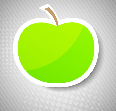 Concept with green apple. Bright illustration illustration