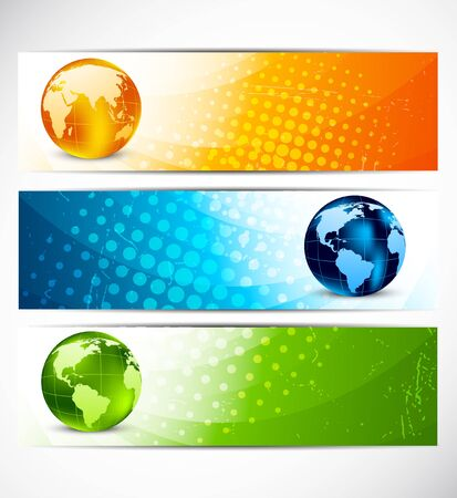 bright future: Set of banners with ball Stock Photo