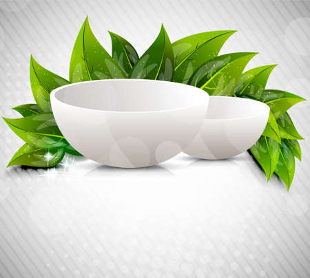 dishes: Background with drinking bowl and leaves