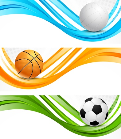 basketball ball: Set of sport wavy banners
