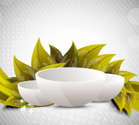 dinnerware: Background with drinking bowl and leaves