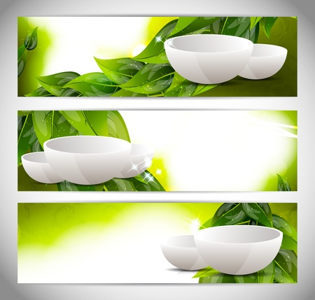 dinnerware: Set of banners with drinking bowl Stock Photo