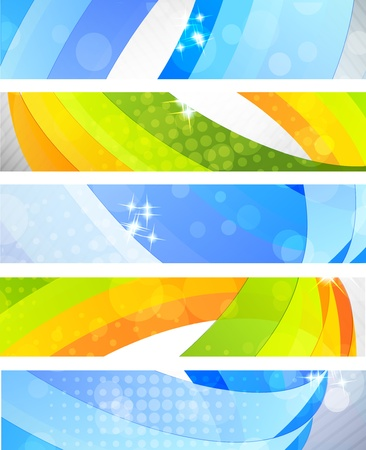 hi tech background: Set of bright banners with 3d element