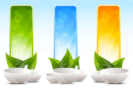 vertical wellness: Set of banners with drinking bowl Stock Photo