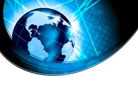 worldwide web: Bright background with globe in blue color