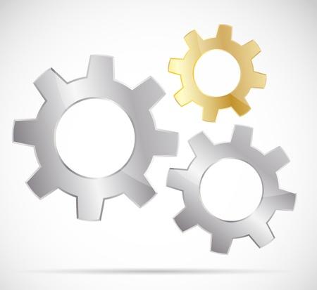 settings: Drie heldere versnellingen Stock Illustratie