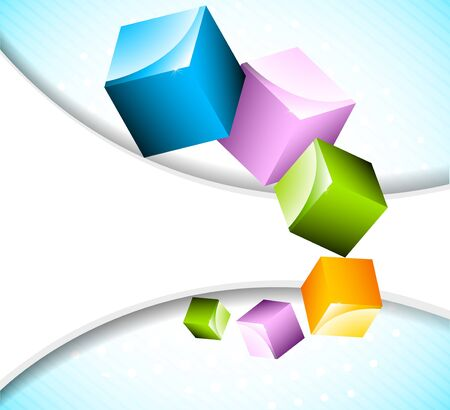 Abstract bright background with cubes photo