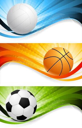 Set of bright sport banners photo