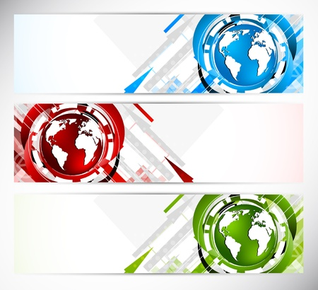 computer software: Set of banners with globe