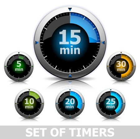 clock icon: Set of bright timers in different color