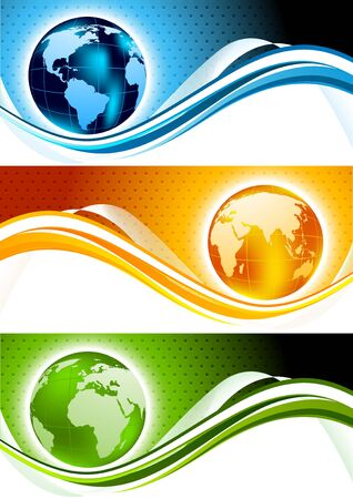 Set of banners qith globes photo