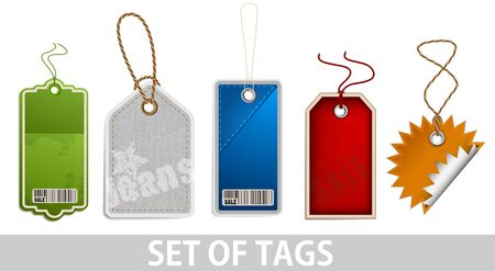 Set of tags on white background photo