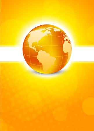 Bright orange background with globe photo